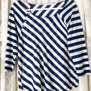 NWOT Femme navy &white striped linen top Medium